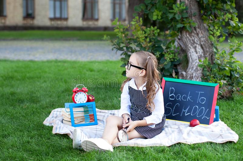 Back to school.  kid is ready for school. smart child little girl in glasses with school supplies: a school board, books, a magnif royalty free stock images