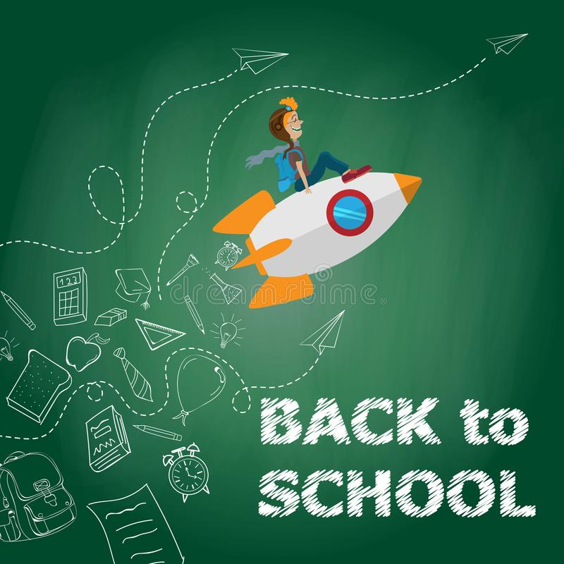 Free Back To School Kid Riding A Rocket, Chalk On Blackboard. Sketchy Doodle Style Scribble, Vector Illustration. Royalty Free Stock Photos - 105700858