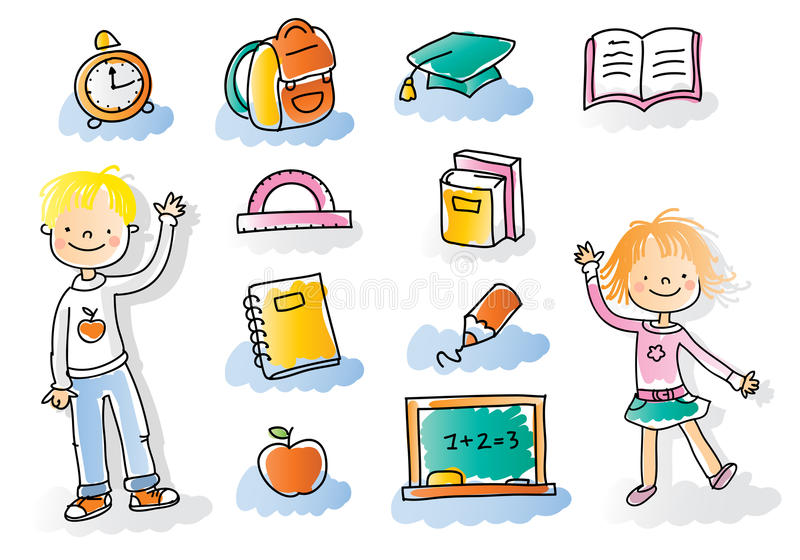 Back to school kids stock illustration