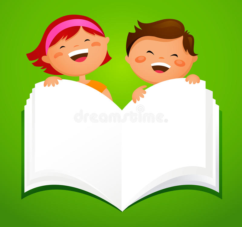 Back to school - kids with an open book stock illustration