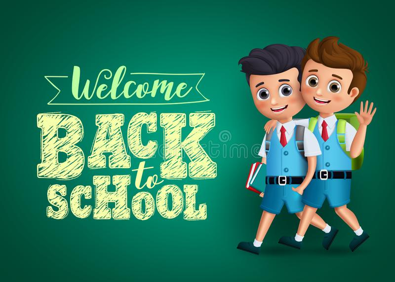 Back to school kids vector design. Boys students characters happy walking together wearing school uniform. And backpack with text in chalkboard background vector illustration