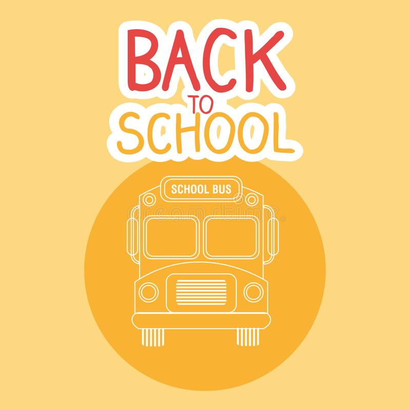 Back to school label with bus stock illustration
