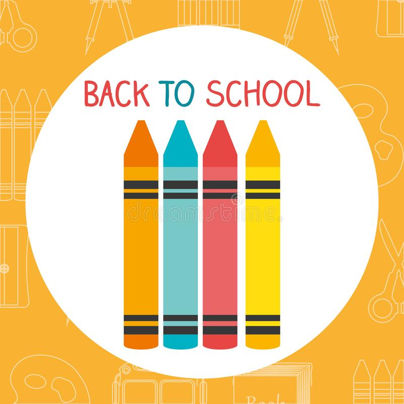 Back to school label with colors crayons. Vector illustration design royalty free illustration