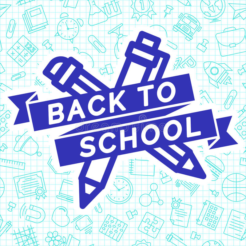 Back to school label cyan color consisting of pen and pencil stock illustration