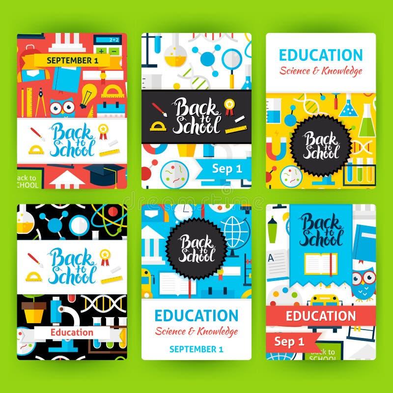 Back to School Label Greeting Set. Back to School Label Greeting Invitation Set. Flat Design Vector Illustration of Brand Identity for Education Promotion stock illustration