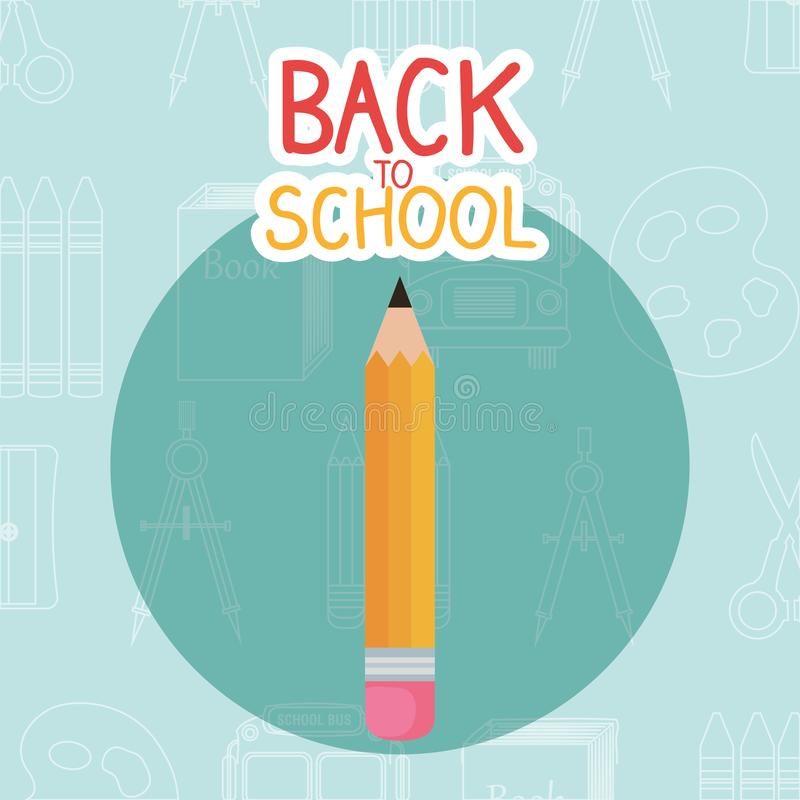 Back to school label with pencil. Vector illustration design stock illustration