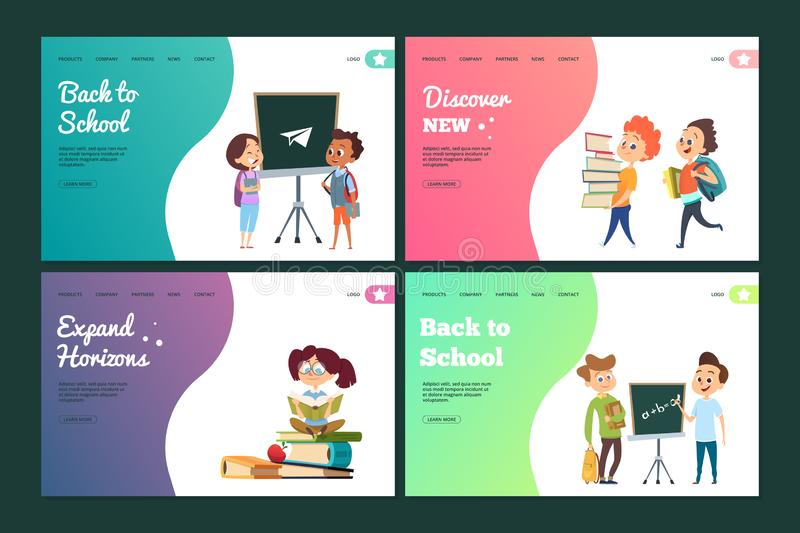 Back to school landing page set. Vector web banners template with cartoon students vector illustration