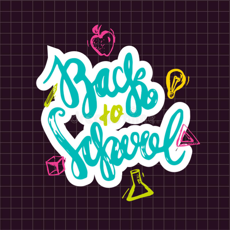 Back to School lettering hand drawn design. Colorful Label isolated on dark background with apple, book, pencil. stock illustration