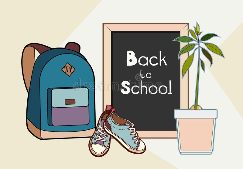 Back to school lettering vector illustration. Backpack, chalkboard, sneakers and green plant vector isolated set royalty free stock photography