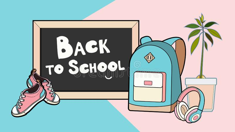 Back to school lettering vector illustration. Backpack, chalkboard, sneakers and headphones vector isolated set vector illustration