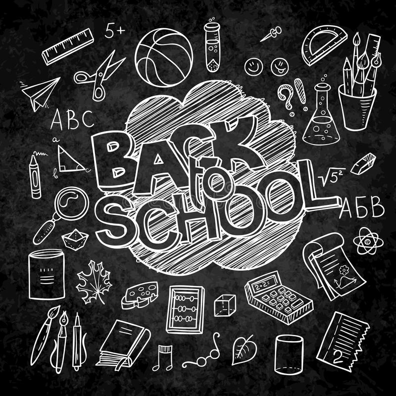 Back to School lined supplies collection. Sketchy notebook doodles set with lettering vector illustration