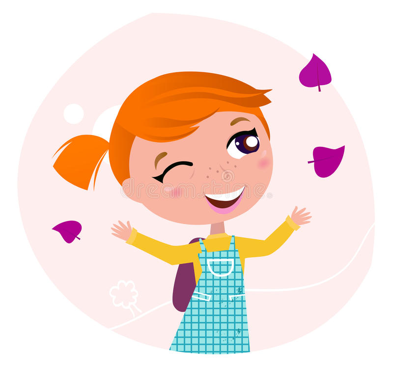 Back to school: Little girl is going to school royalty free illustration