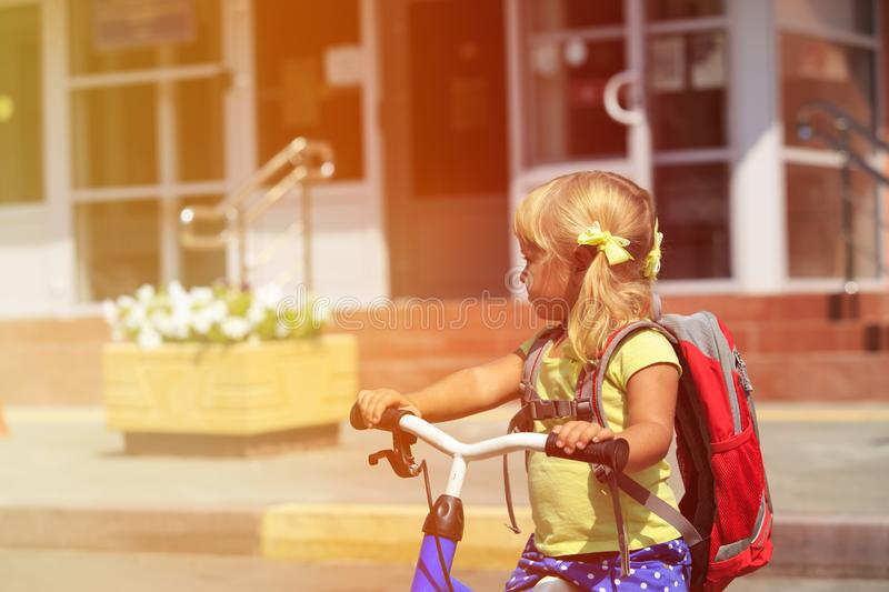 Back to school - little girl at preschool or daycare stock photography