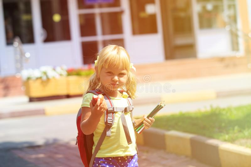 Back to school - little girl at preschool or daycare royalty free stock photo