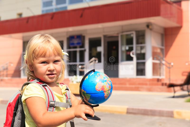 Back to school - little girl at preschool or daycare royalty free stock image