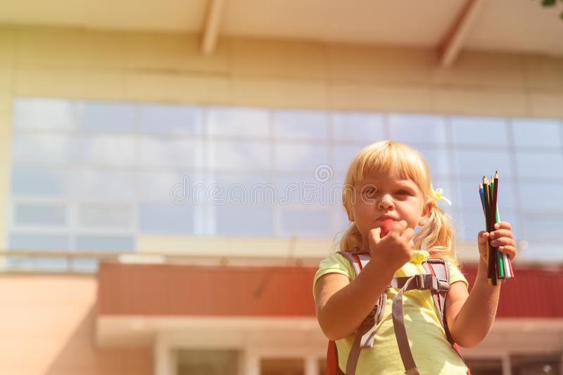 Back to school - little girl at preschool or daycare royalty free stock photos