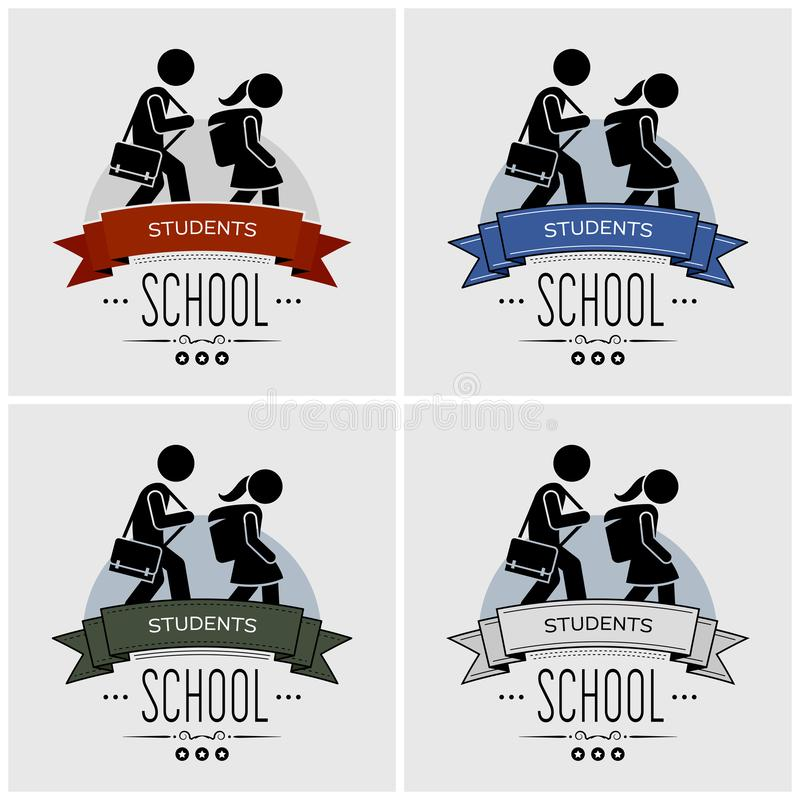 Back to school logo design. Vector artwork of small children walking with schoolbag. Students going back to study at school royalty free illustration