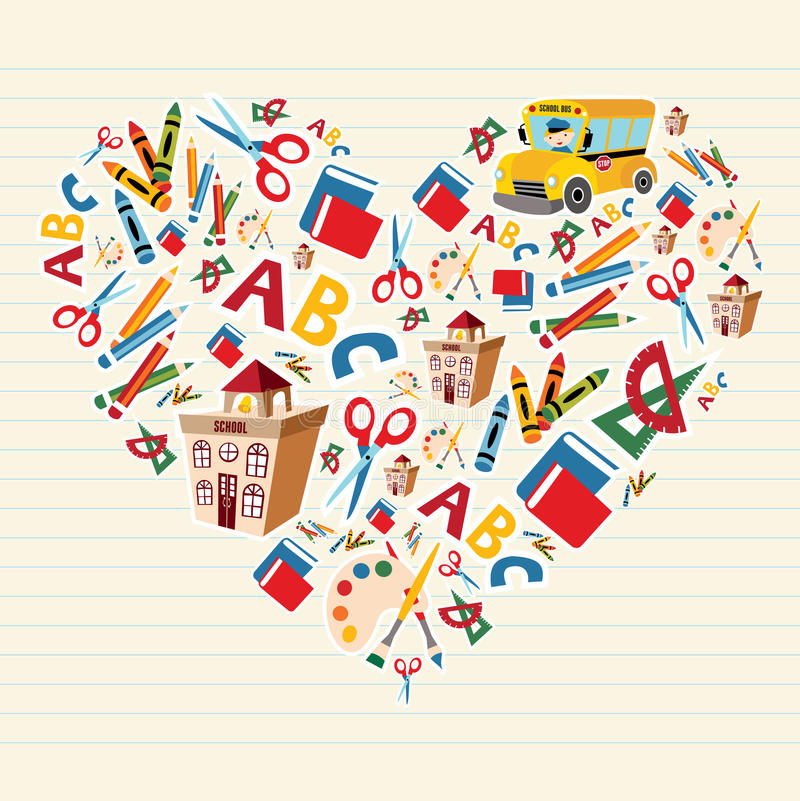 Download Back to school love heart stock vector. Illustration of elements - 25130309
