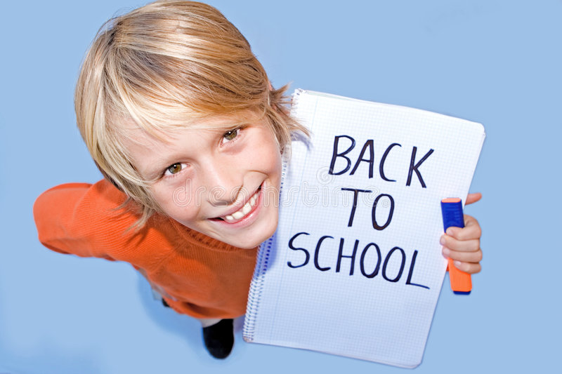 Download Back to school message stock photo. Image of writing, holding - 6262672