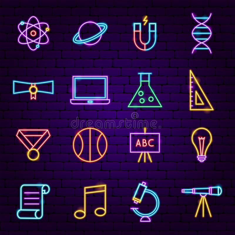 Back to School Neon Icons stock illustration