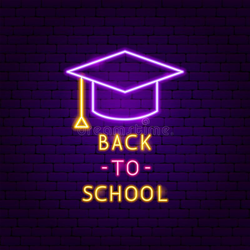 Back to School Neon Label royalty free illustration