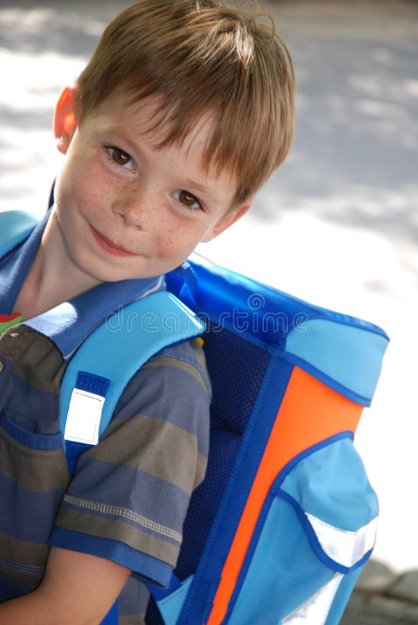 School begins, boy at his first day at school stock images