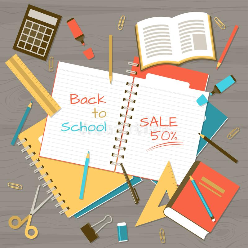 Back to school note pad on table top view stock illustration