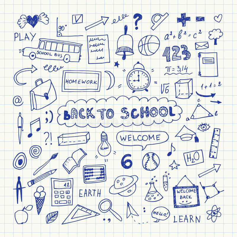 Back to school. Notebook doodle set. Freehand drawing vector illustration