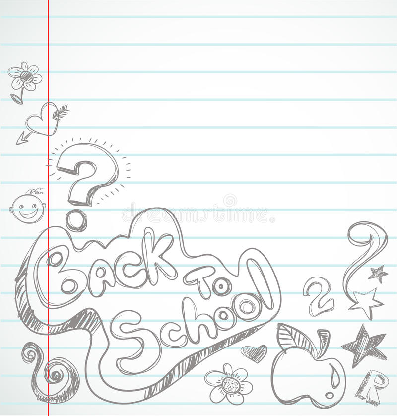Back To School - Notebook With Doodles Stock Photo