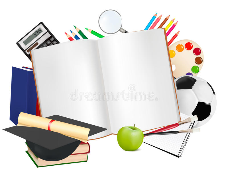Back to school. Notebook with school supplie royalty free illustration