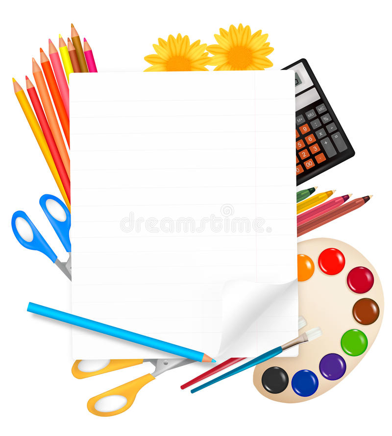 Back to school. Notepad with school supplies. stock illustration