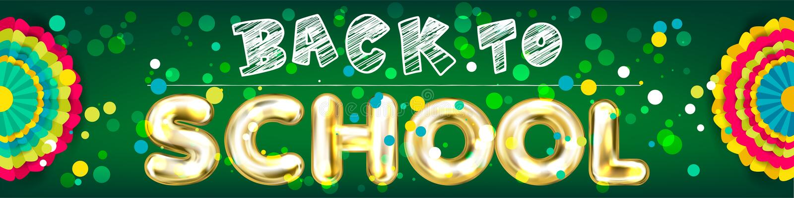 Back to School panorama banner with confetti royalty free illustration