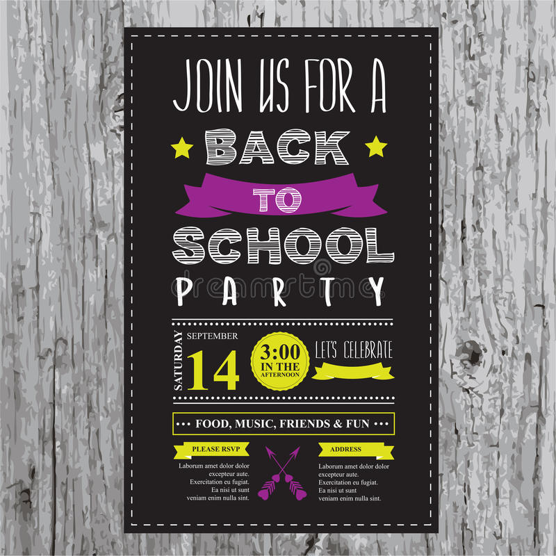 Back To School Party Invitation Stock Vector Illustration Of