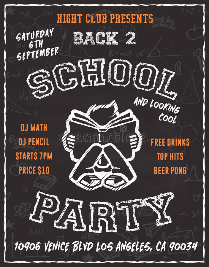 Back to school party poster flyer design stock illustration