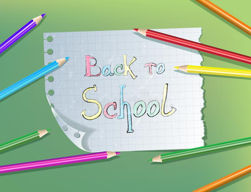 Back to school pencil text drawing in paper notebook with colored pencils stock illustration