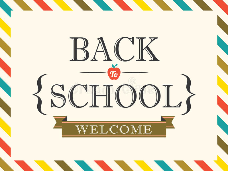 Back to School postcard background template vector illustration