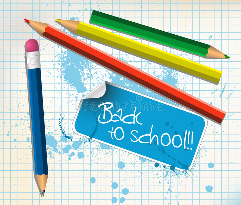 Back to school poster. With colorful pencils royalty free illustration