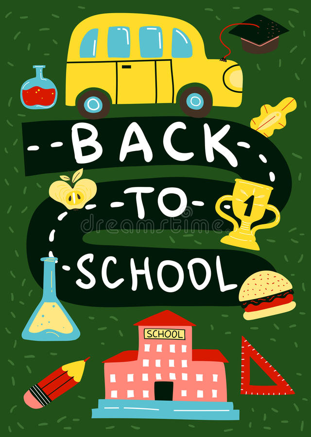 Back To School Poster Background stock illustration