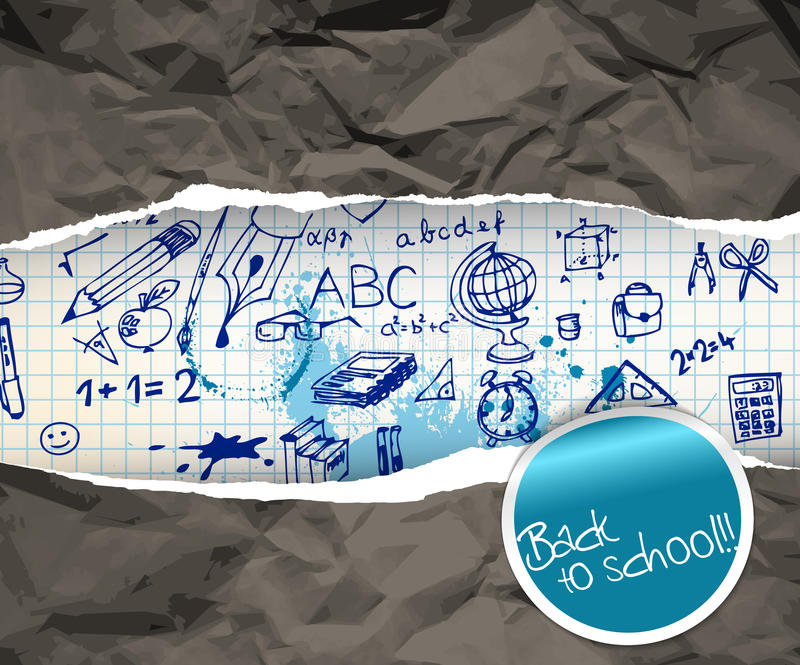 Back to school poster with doodle illustrations. On squared paper stock illustration