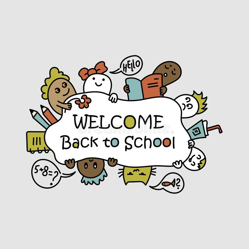 Back to school poster with doodles. children of different nationalities. stock illustration