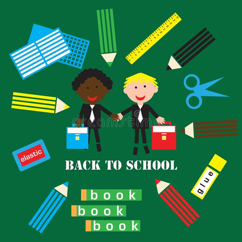 Back to school poster with students and school objects on a green background of the school board, vector royalty free illustration