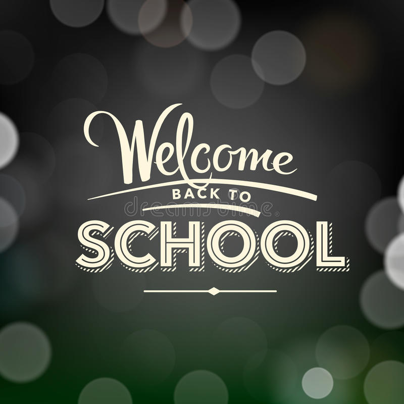 Back to school poster with text on chalkboard stock illustration