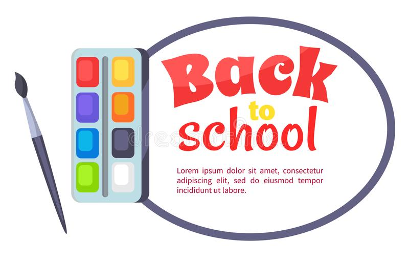 Back to School Poster with Watercolor Paints vector illustration