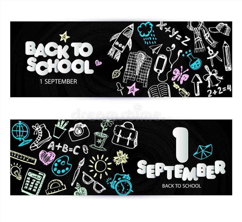 Back to school promo banner design. Vector black chalkboard background color crayons and pencils. Hand drawn doodle stock illustration