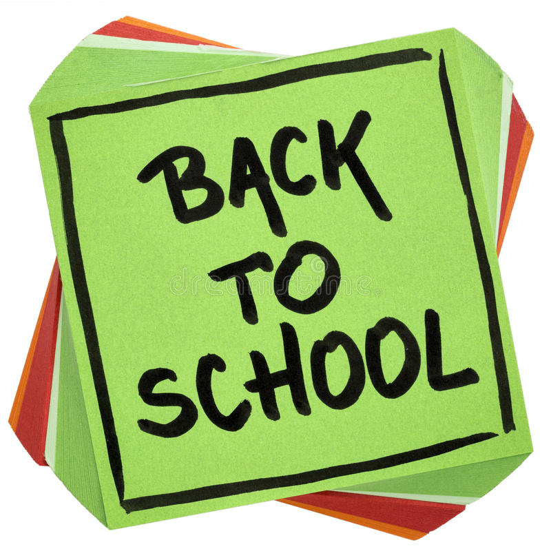 Back to school reminder note royalty free stock image