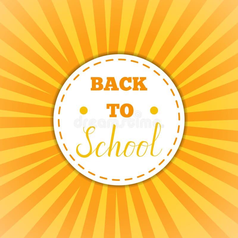 Back to school retro round sticker. Back To School Cirle yellow Banner. Vector Flat Illustration.Back to School round Sticker. Education and web design Concept stock illustration