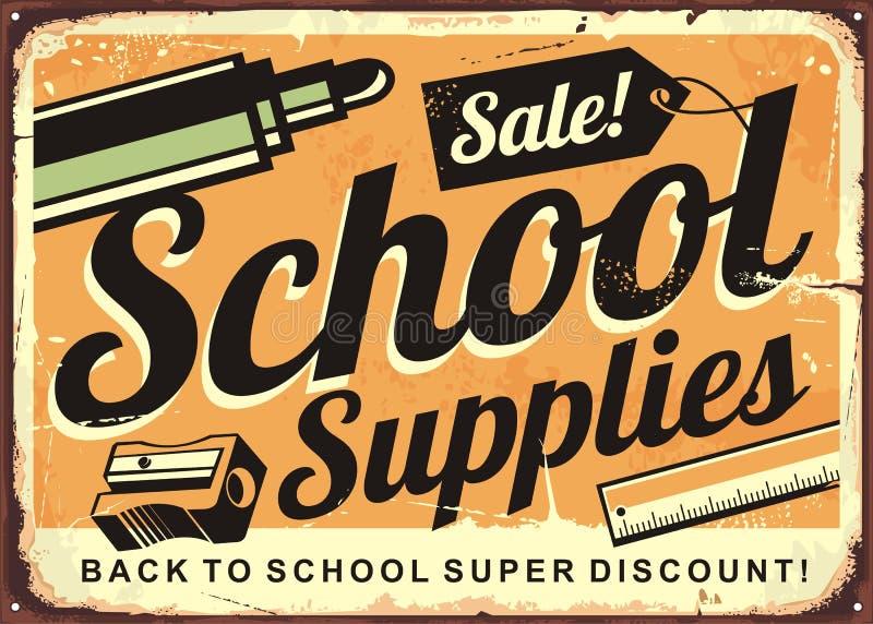 Back to school retro tin sign design layout stock illustration