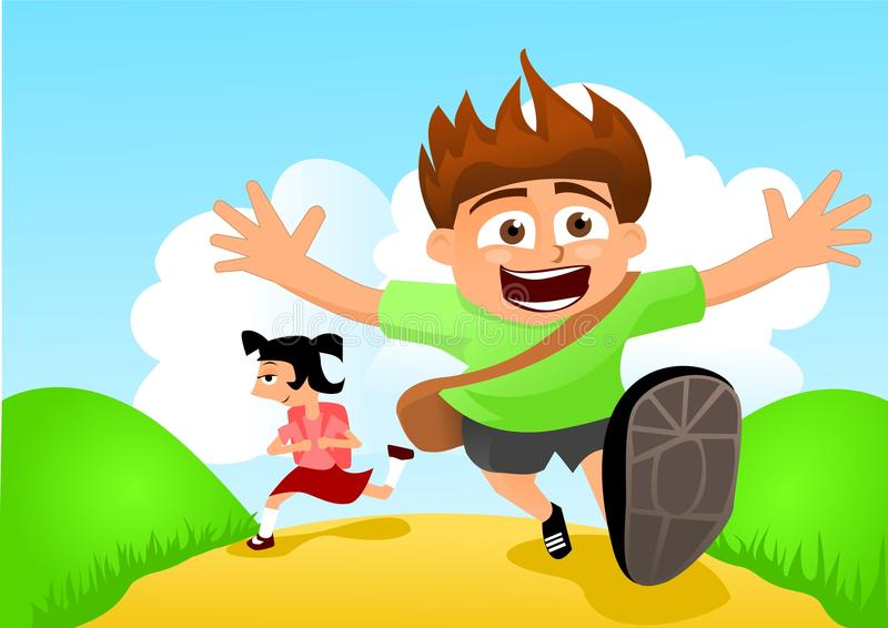 Back to school. Running kids. stock illustration