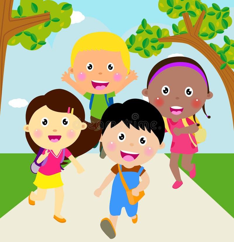 Back to school. Running kids. vector illustration