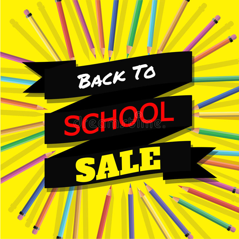 Back To School Sale Background With Colorful Pencils With Header